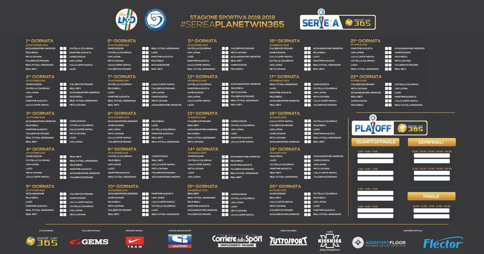 Calcio Catania Calendario.Meta Catania Calcio A 5 Calendario Della Serie A La Meta