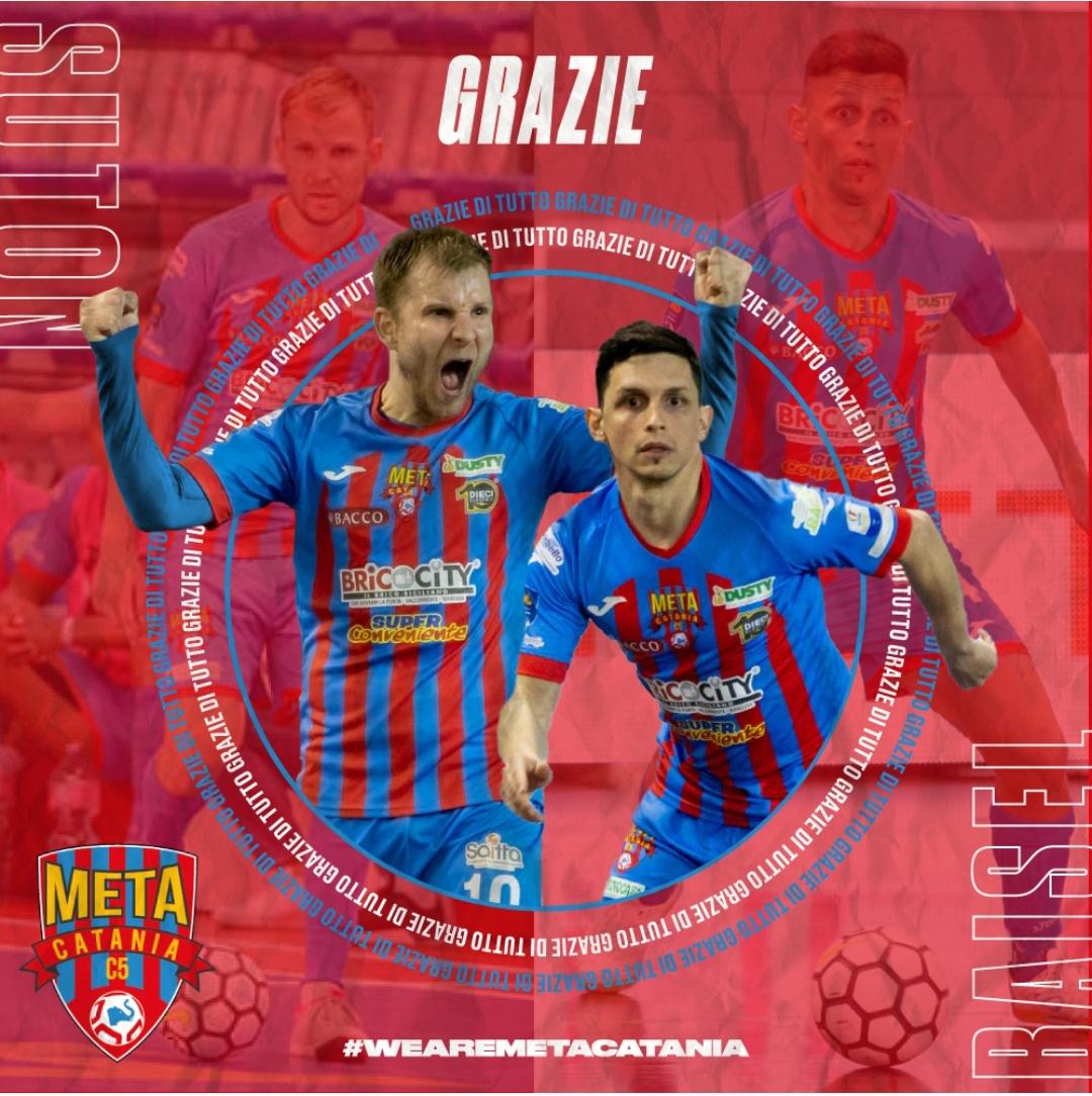 La Meta Catania Bricocity saluta e ringrazia i giocatori Suton e Baisel.
